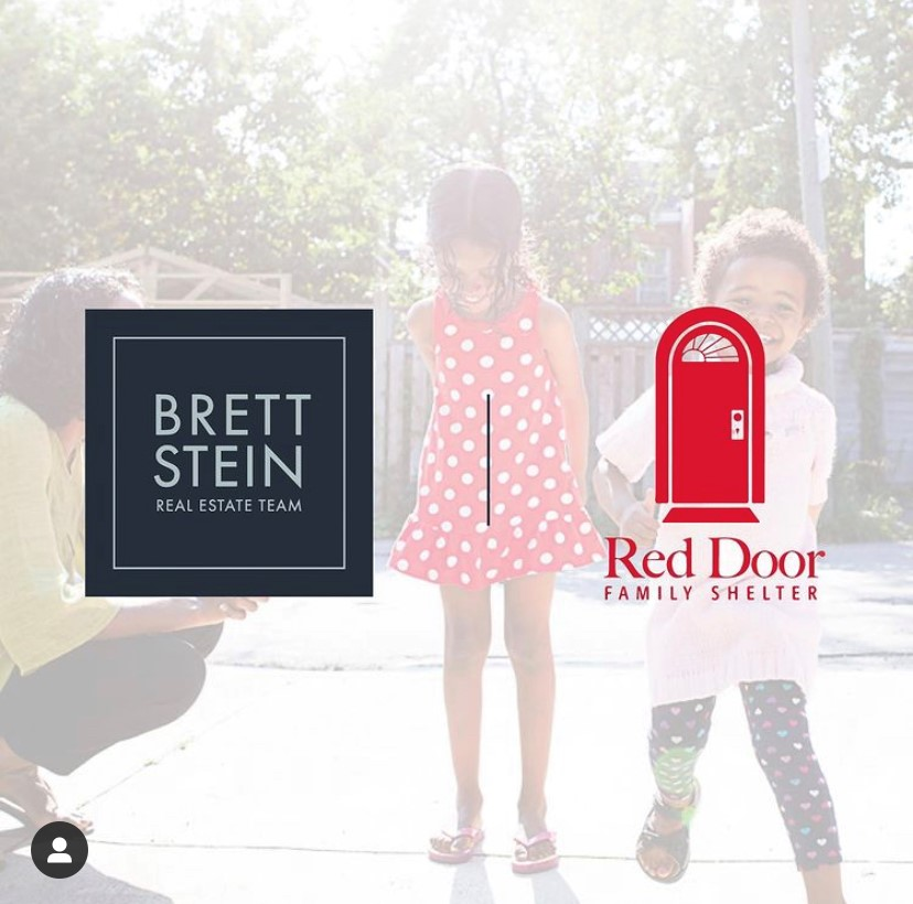 A faded photo of two girls playing with Red Door's and Brett Stein Real Estate Team's logos overlayed