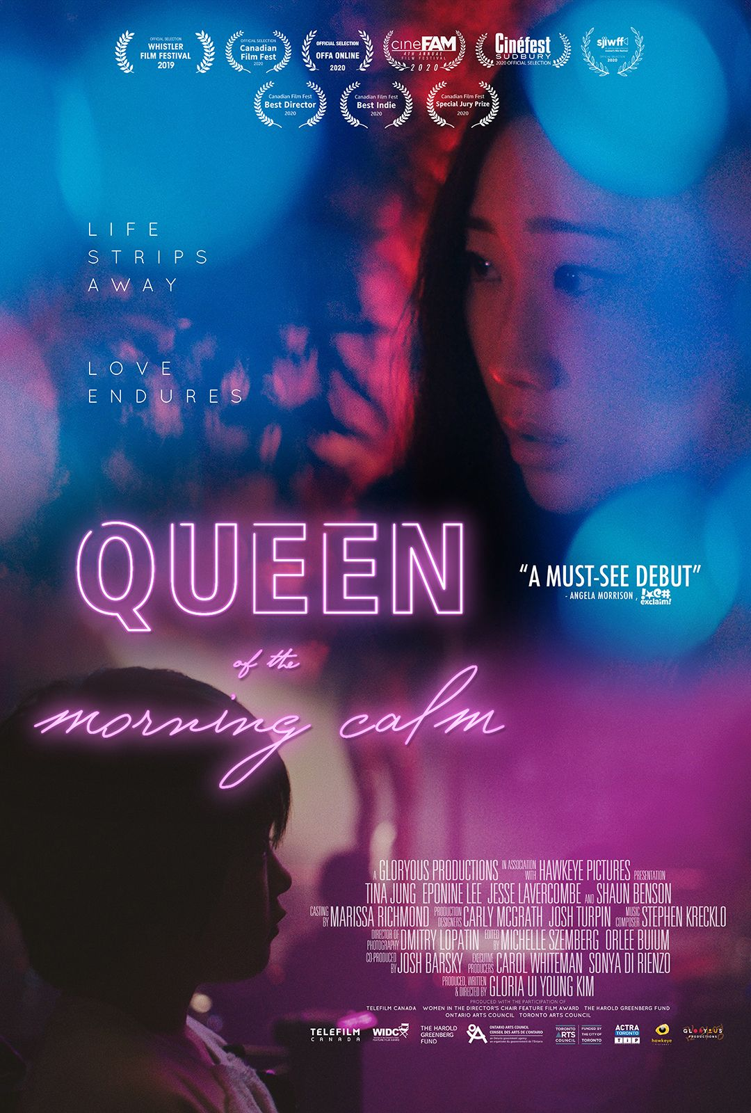 A poster with the outline of a young woman's face advertising the film Queen of the Morning Calm