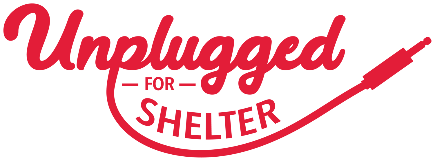 A logo for Unplugged For Shelter