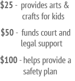 $25 provides arts and crafts kit, $50 fund court and legal support, $100 provides a safety plan