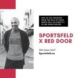 a happy man wearing a t-shirt to support Red Door