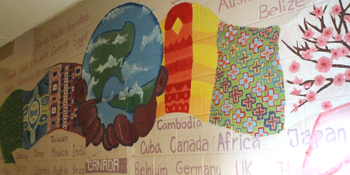 a colourful mural with names of different countries